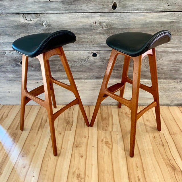 Erik Buch Danish Modern Teak Bar Stools - a Pair For Sale In Sacramento - Image 6 of 13