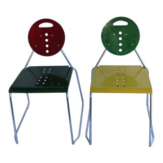"1980s Vintage Bimbi Gioacchini Design Memphis Style Italian ""Charlie"" Chairs- A Pair For Sale"