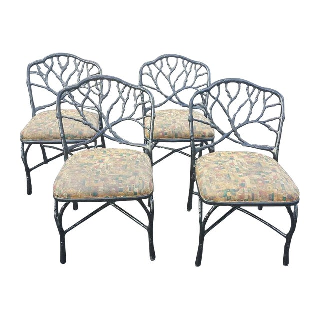 Mid 20th Century Faux Bois Dining Chairs - Set of 4 For Sale