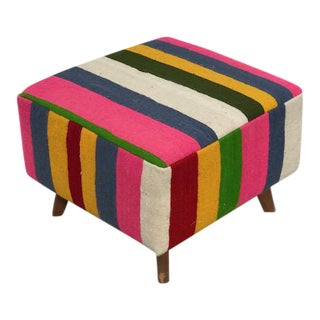 Colorful Striped Turkish Kilim Ottoman