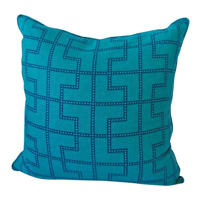 Celerie Kemble Schumacher Blue and Green Pillow For Sale