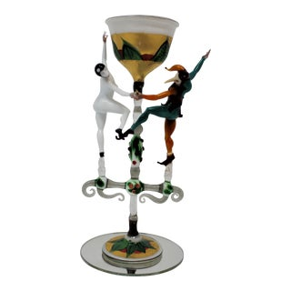 """Carnivale Dancers"" Miniature Murano Glass Sculpture by Sardi For Sale"