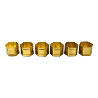 Vintage Brass Hexagon Napkin Rings - Set of 6 For Sale