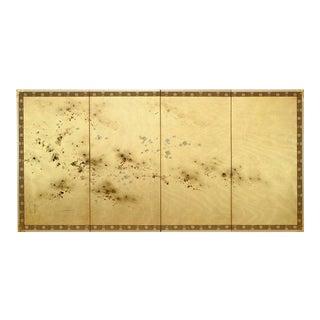 Japanese Four-Panel Cherry Blossom Silk Screen Byobu