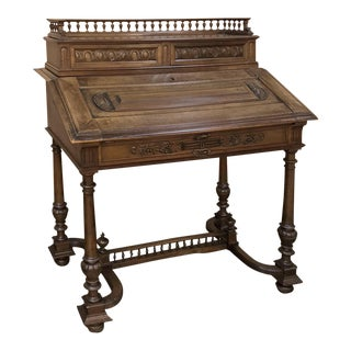 19th Century French Henri II Walnut Secretary For Sale