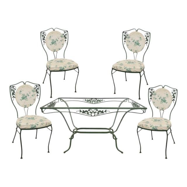 Vintage Salterini Wrought Iron Patio Dining Set Table 4 Chairs ...