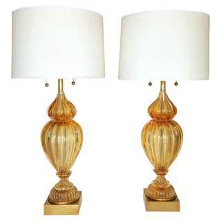 1960s Mid-Century Modern Marbro Seguso Murano Golden Amber Table Lamps - a Pair