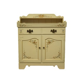 "20th Century Traditional Ethan Allen White & Gold Painted 24"" Dry Sink Server For Sale"