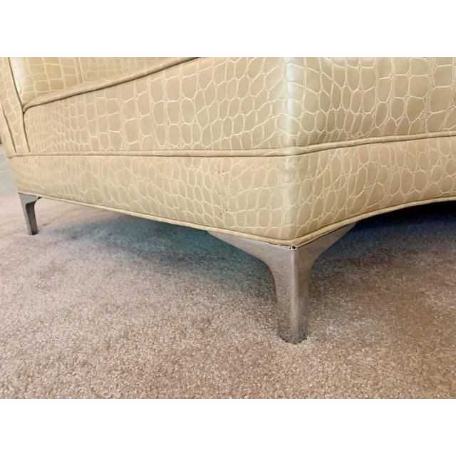 Semicircular Butter Sofa With Alligator Embossment For Sale - Image 9 of 13