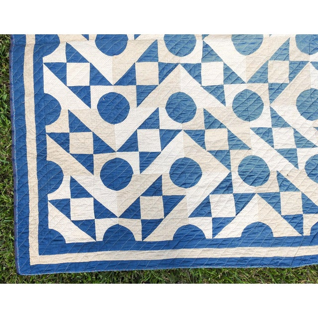 Antique Blue & White Graphic Quilt For Sale - Image 4 of 10