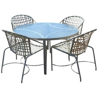 Mid Century Modern Brown Jordan Kantan Patio Dinette Set Table 4 Chairs 1960s