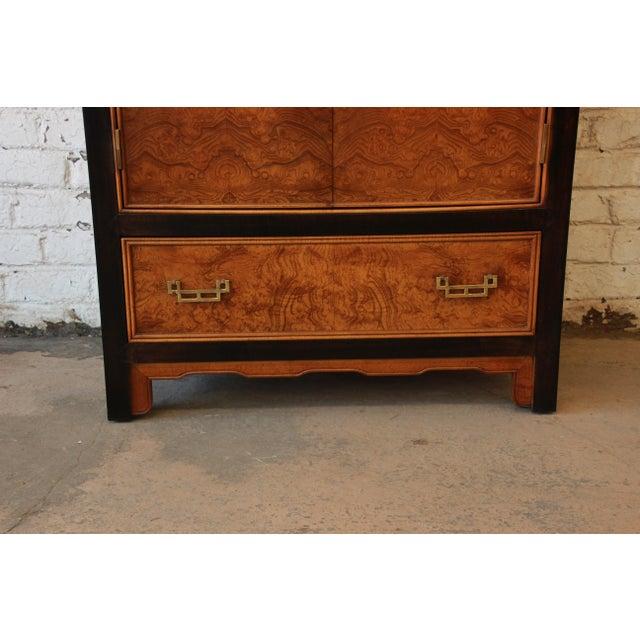 Century Furniture Black Lacquer & Burlwood Armoire - Image 8 of 11