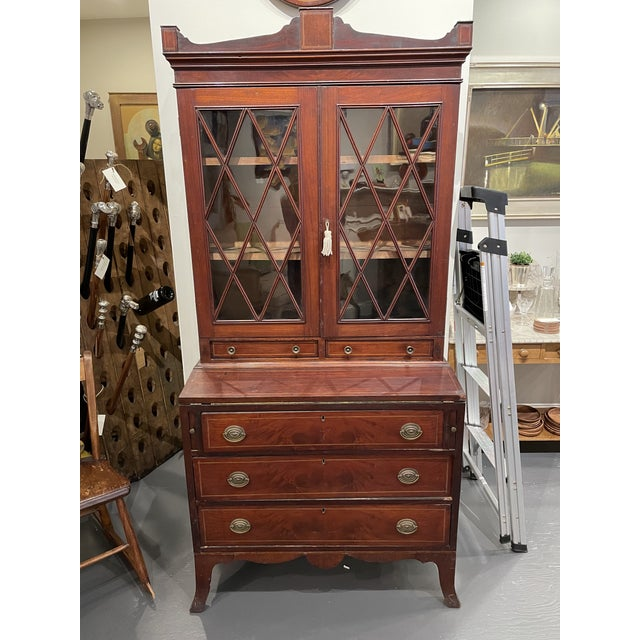19th Century Federal Mahogany Two Part Secretary Desk For Sale - Image 10 of 10