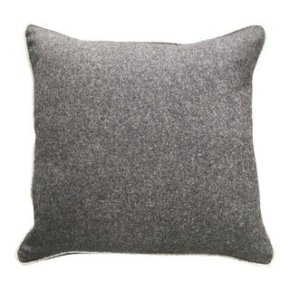British Brown Gray Flannel Wool Pillow With Contrasting Light Brown Piping For Sale