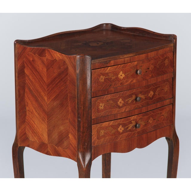 Early 20th Century 20th Century Louis XV Marquetry Bedside Chest of Drawers For Sale - Image 5 of 13
