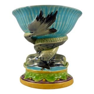 English Minton Majolica Dolphin Pedestal & Shell Open Salt Cellar, Circa 1864 For Sale