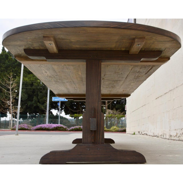 Country Racetrack Trestle Table Made From Reclaimed Pine For Sale - Image 9 of 11