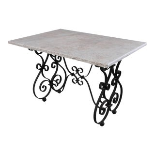French 19th Century Iron Table with Marble Top For Sale