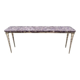 Console Table Purple Mosaic and Silver Clad Cornet by Paul Mathieu for Stephanie Odegard For Sale