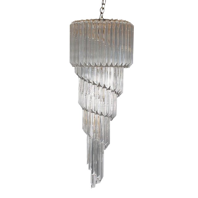 Italian Venini Hollywood Regency Murano Brass Crystal Prism Spiral Chandelier For Sale