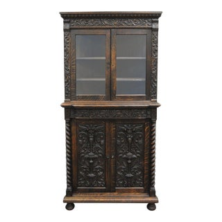 Antique Corner China Cabinet Cupboard Renaissance Revival Belgian Carved Oak For Sale