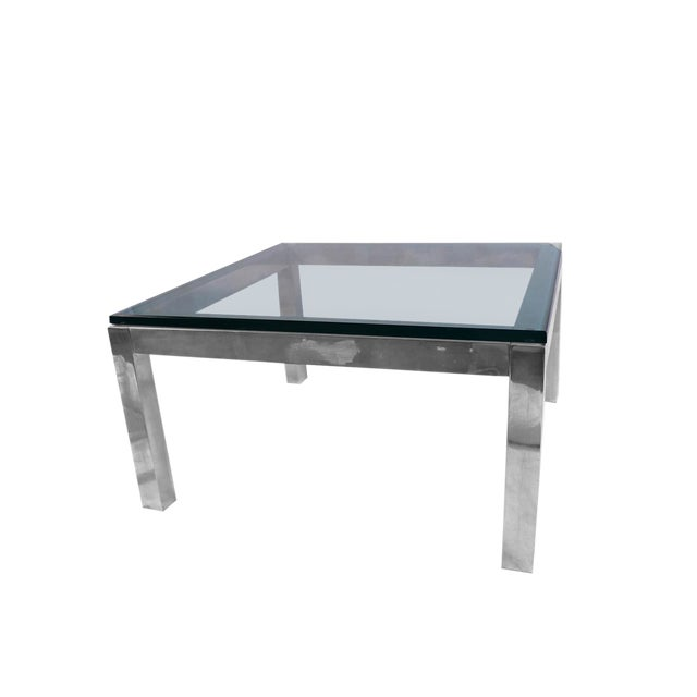 Mid Century Modern Chrome & Glass Coffee Table Milo Baughman Style For Sale