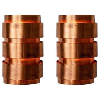 Hans-Agne Jakobsson Model V-155 Copper Sconces for Markaryd, Sweden - a Pair For Sale