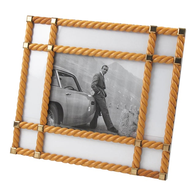 Designer Noel Bc Italy Large Blond Carved Wood Picture Photo Frame For Sale