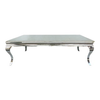 1980s Stainless Steel Cocktail Table with Lacquered Snakeskin Finish Marble Top For Sale