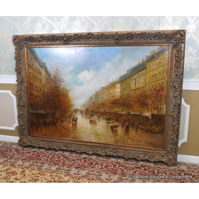 French Paris Street Scene Impressionist Oil Painting For Sale - Image 3 of 11