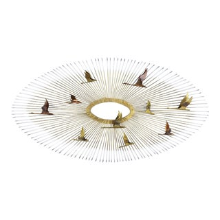 Homeco Brass Starburst and Birds Wall Hanging For Sale