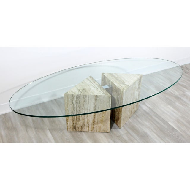 Mid-Century Modern Italian Marble Chrome Glass Surfboard Coffee Table, 1970s For Sale - Image 4 of 9