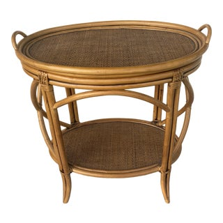Two Tiers Bar Rattan and Wicker Bar Cart With a Tray. For Sale