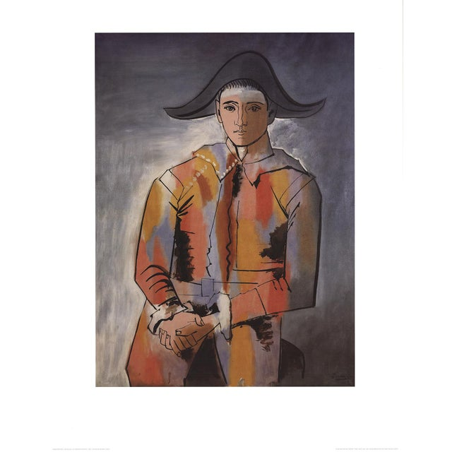 """Cubism Pablo Picasso Arlequin Les Mainscroisees (No Text) 35.5"""" X 27.5"""" Poster Cubism Orange, Red, Gray For Sale - Image 3 of 3"""