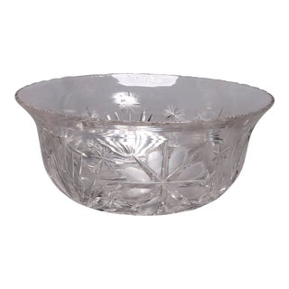 Antique Brilliant Cut Glass Serving Bowl 20th Century For Sale