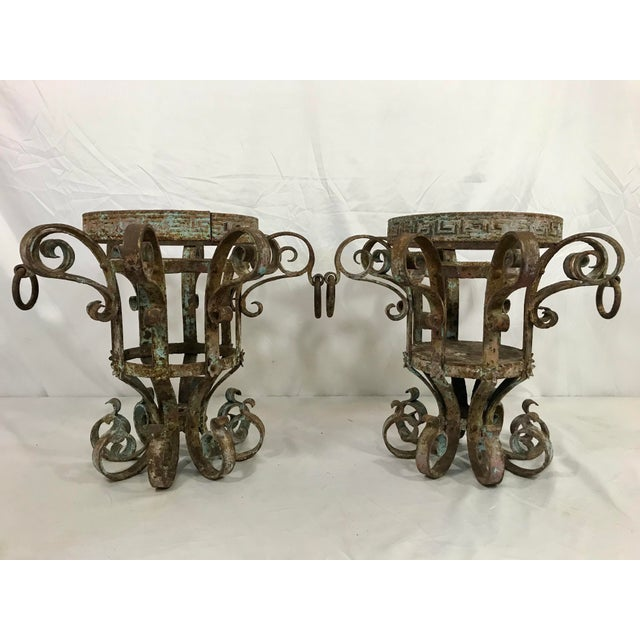 Wrought Iron Fretwork Planters a Pair For Sale - Image 13 of 13