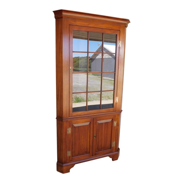 Henkel Harris Chippendale Style Cherry Corner Cabinet For Sale
