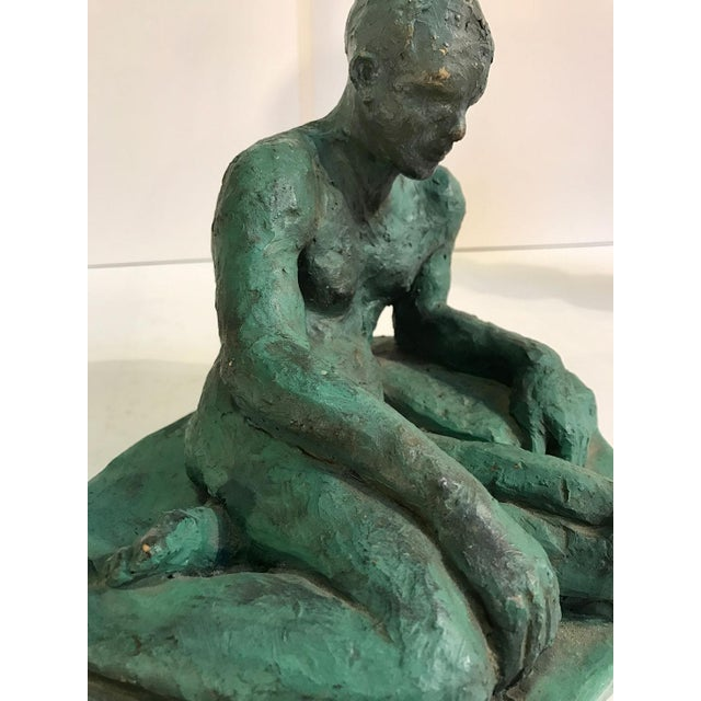 Clay Clay Sculpture of a Seated / Reclining Nude Male, 1937 For Sale - Image 7 of 10