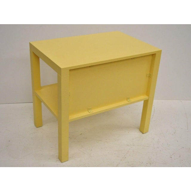Yellow Modern Decca Yellow Grasscloth Raffia Wrapped Parsons Nightstand For Sale - Image 8 of 10