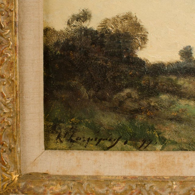 """Realism Early 20th Century """"Lonely Church"""" Landscape Oil Painting, Framed For Sale - Image 3 of 10"""