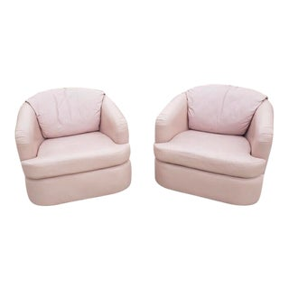 1990s Vintage Pink Leather Swivel Club Chairs- A Pair For Sale