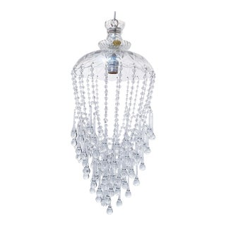 Parachute Chandelier With Hand Cut Glass Dish For Sale