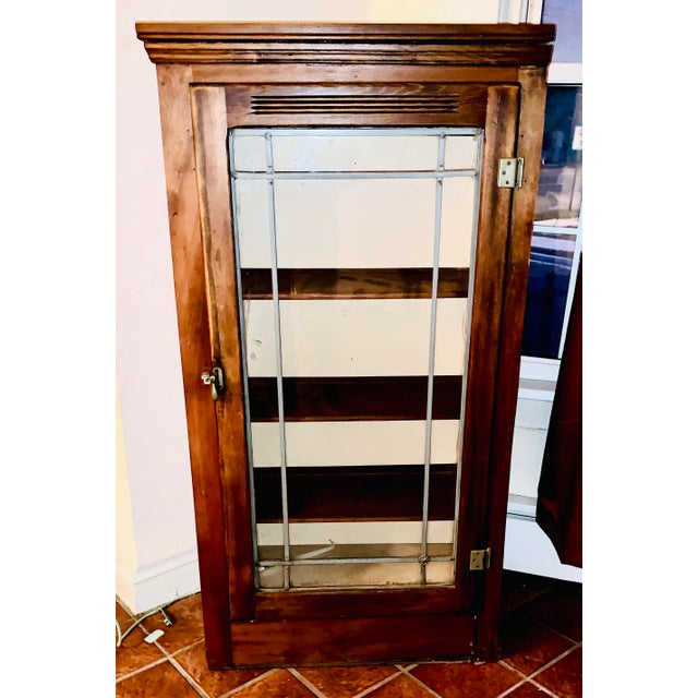Mid 19th Century Display/China Cabinet With Shelving Drawer and Full Glass Door With Leaded Detail For Sale - Image 4 of 7