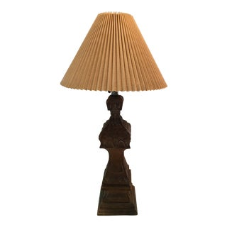 1940s Boho Chic Hand Carved Wooden Table Lamp