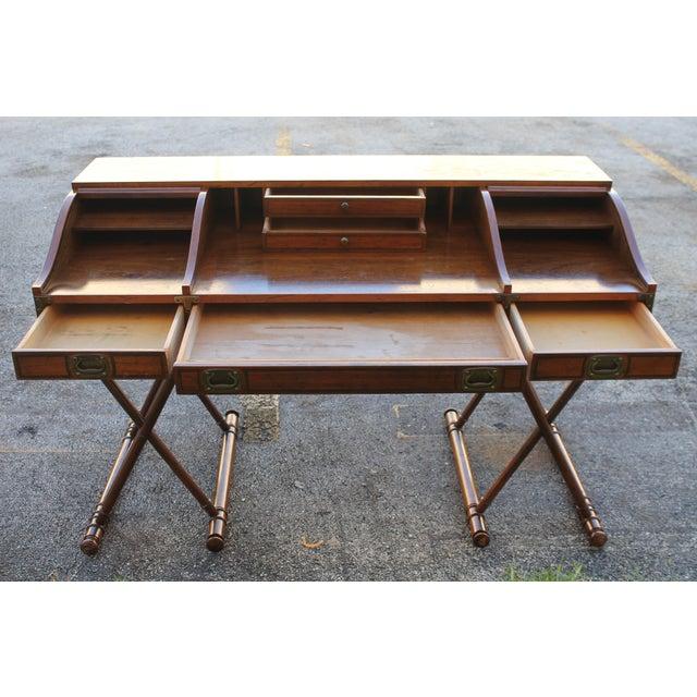 Metal Vintage Campaign Rolltop Desk For Sale - Image 7 of 13