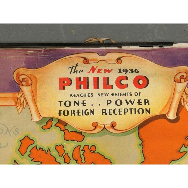"""Colorful pull-down Philco (""""The New 1936 Philco"""") map mounted on Chartex. Some abrasions, little tears and creases,..."""