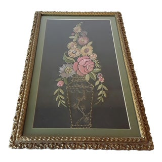 1920s Framed Embroidery Floral Silk For Sale
