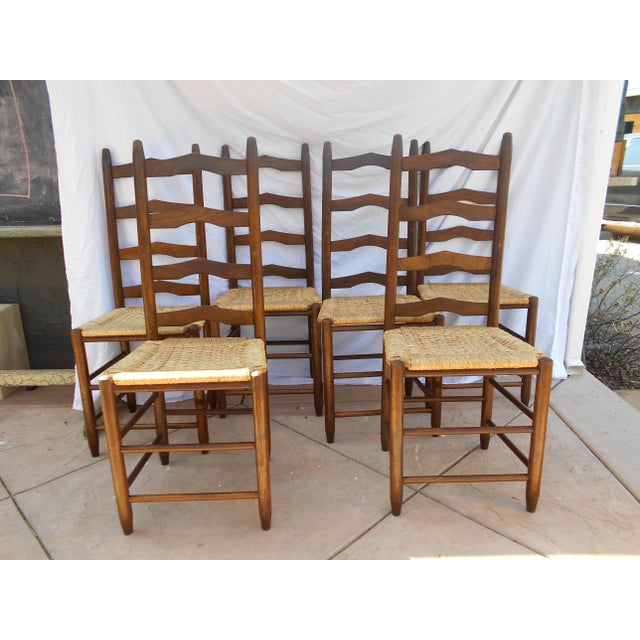 Vintage French Ladder Back Dining Chairs - Set of 6 - Image 2 of 9
