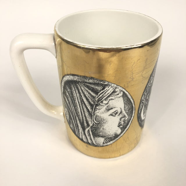 """Traditional Porcelain """"Monete"""" Mug by Piero Fornasetti For Sale - Image 3 of 9"""
