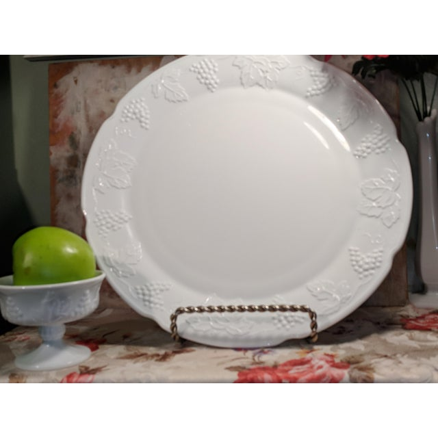 Vintage Milk Glass Serving Plate/Pedestal Dessert Dish With Grapevine Pattern For Sale - Image 6 of 13